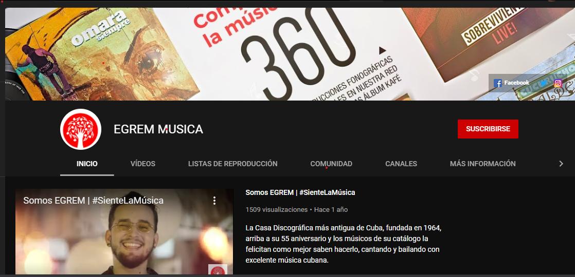 Canal de Youtube de la empresa EGREM